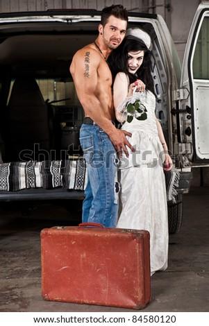 Hillbilly wedding (Shirtless guy NO preacher) - stock photo