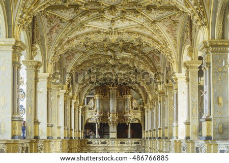 Hillerod, AUG 28: Superb interior view of Frederiksborg Castle on AUG 28, 2016 at Hillerod, Denmark