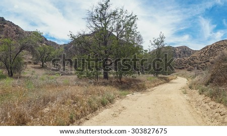 Hills and canyons of southern California desert lands. - stock photo