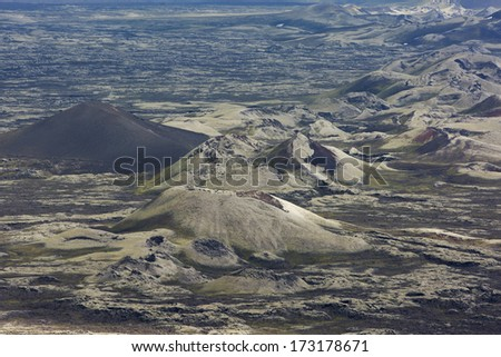 Hills and craters, some covered with moss or ash, at Lakagigar, Iceland - stock photo