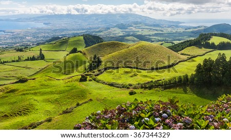 Hills and fields landscape in Sao Miguel, Azores Islands - stock photo