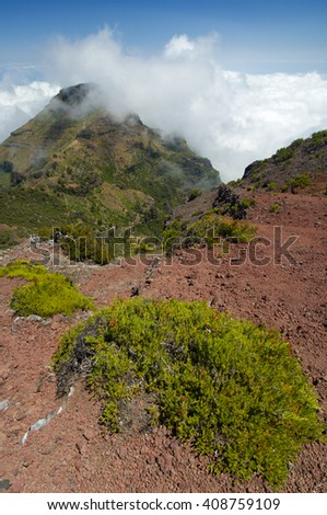 Hills and fog on Madeira Island, Portugal.