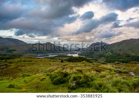 Hills and Lake in Ireland - stock photo
