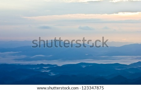 Hills and misty in the morning at kunsatarn,Nan ,Thailand