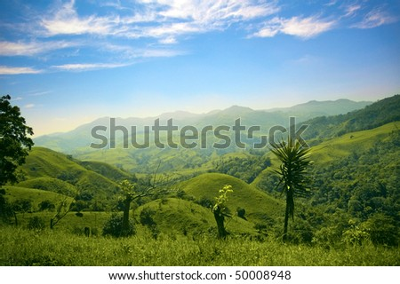Hills and mountains in Costa Rica - stock photo