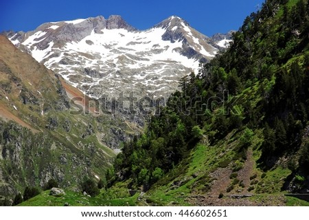 Hills and snowed mountains in the Pyrenees National Park in France