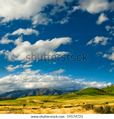 hills at catlins, new zealand - stock photo