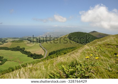 Hills close to lake of Sete Cidades, Azores, Portugal Europe - stock photo