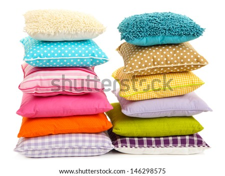 Hills colorful pillows isolated on white - stock photo