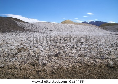 Hills covered in salt, Devil's Golf Course, Death Valley National Park - stock photo