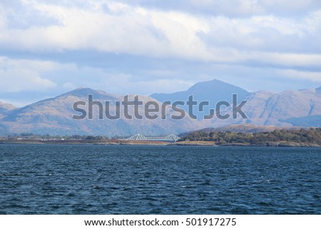 Hills in the background from the ferry to Isle of Lismore - Scotland