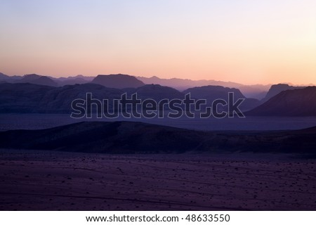 Hills in Wadi Rum desert during sunset, Jordan