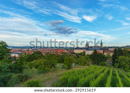Hills of Bamberg. Lovely green hills in the city of Bamberg, Germany on a hot summer day with historical buildings