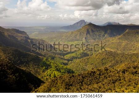 Hills of Mauritius island - stock photo