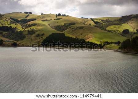 Hills of New Zealand. View from Otago Harbor bay. - stock photo