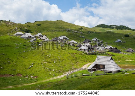Hills on Velika Planina, Slovenia, summer time - stock photo