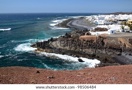 Hills view for El Golfo village on Lanzarote island