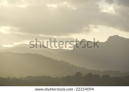 hills with fog - stock photo