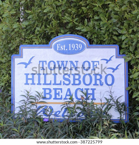 Hillsboro Beach, FL, USA - February 12, 2014: Established 1939, Town of Hillsboro Beach decorated sign welcoming people to this small community located in Broward County.