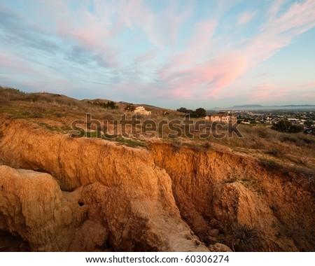 Hillside Soil Erosion along the southern California coast - stock photo