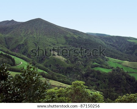 hilly landscape at Sao Miguel Island, the biggest island of the Azores Archipelago, a group of vulcanic islands located in the middle of the North Atlantic Ocean (Portugal) - stock photo