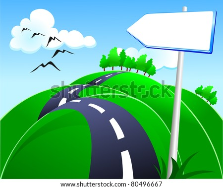 Hilly road with sign - stock photo