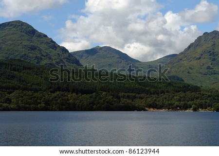 hilly scenery in Scotland around Loch Lomond at summer time - stock photo