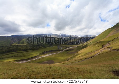 hilly terrain of mountains, Caucasus, Russia, the foothills of Mount Elbrus