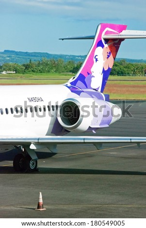HILO, HAWAII - SEPTEMBER 10, 2011 - Plane at Hilo International Airport on September 10, 2011 in Hilo, Hawaii. It is one of two major airport on Hawaii Island and one of five major airports in state. - stock photo