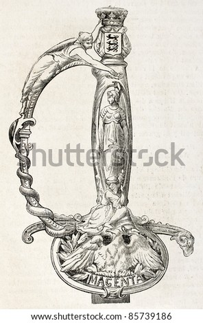 Hilt of a sword given by Autun residents (eastern France) to Marshal MacMahon, Duke of Magenta.Created by Fichot, published on L'Illustration, Journal Universel, Paris, 1860 - stock photo