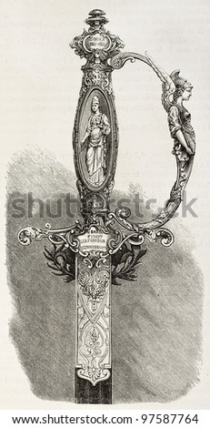 Hilt of a sword given to Baron Finot, French consul in Tblisi. Created by Fichot, published on L'Illustration, Paris, 1863 - stock photo