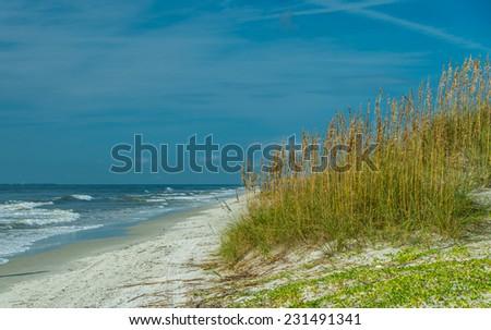 Hilton Head Island Beach at High Tide - stock photo
