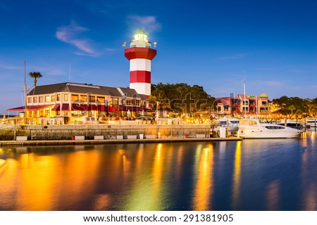 Hilton Head, South Carolina, lighthouse at twilight. - stock photo