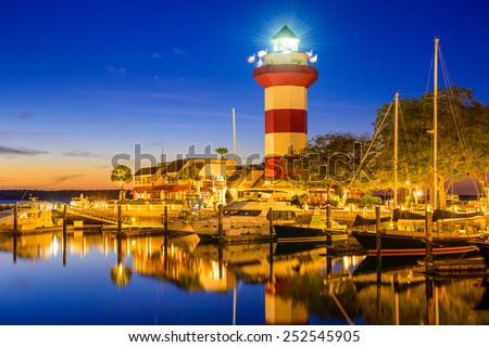 Hilton Head, South Carolina, USA lighthouse. - stock photo