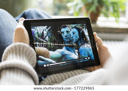 HILVERSUM, NETHERLANDS - FEBRUARY 14, 2014: Avatar is a 2009 epic science fiction action film directed, written, co-produced, and co-edited by James Cameron. The film is set in the mid-22nd century. - stock photo