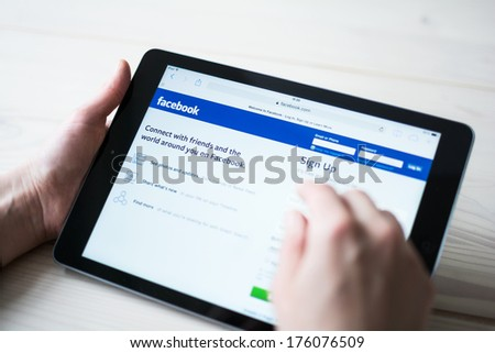 HILVERSUM, NETHERLANDS - FEBRUARY 10, 2014: Facebook is an online social networking service founded in February 2004 by Mark Zuckerberg with his college roommates and is now a fortune 500 company. - stock photo