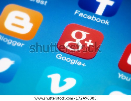 HILVERSUM, NETHERLANDS - JANUAR 03, 2014: Google plus is a social networking/identity service owned and operated by Google Inc. It is the 2nd-largest social networking site in the world after Facebook - stock photo