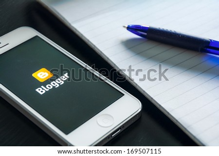 HILVERSUM, NETHERLANDS - JANUARY 03, 2014: Blogger is a free weblog publishing tool from Google, for sharing text, photos and video. - stock photo