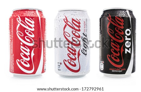 HILVERSUM, NETHERLANDS - JANUARY 23, 2014: Coca-Cola is a carbonated soft drink sold in stores, restaurants, and vending machines worldwide. It is produced by The Coca-Cola Company of Atlanta, Georgia - stock photo