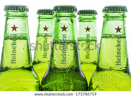 HILVERSUM, NETHERLANDS - JANUARY 19, 2014: Heineken International is a Dutch brewing company, founded in 1864 in Amsterdam. As of 2012, Heineken owns over 190 breweries in more than 70 countries - stock photo