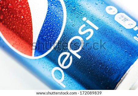 HILVERSUM, NETHERLANDS - JANUARY 19, 2014: Pepsi is a carbonated soft drink produced PepsiCo. Created in 1893 and introduced as Brad's Drink, it was renamed as Pepsi-Cola in 1898 then to Pepsi in 1961