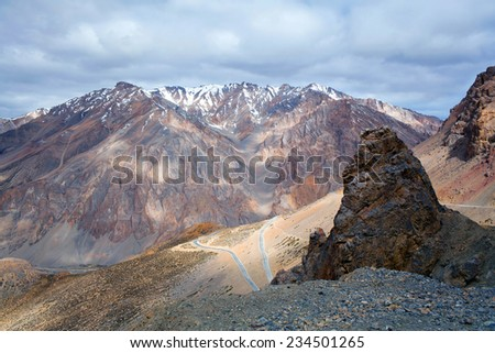Himalaya mountain landscape at the Manali - Leh highway in Ladakh, Jammu and Kashmir State, India. - stock photo