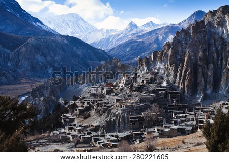 Himalaya mountains in Nepal, view of small village Braga on Annapurna circuit - stock photo