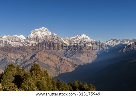 Himalaya Mountains View from Poon Hill - stock photo