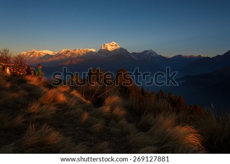 Himalaya Mountains View from Poon Hill 3210m at sunrise - stock photo