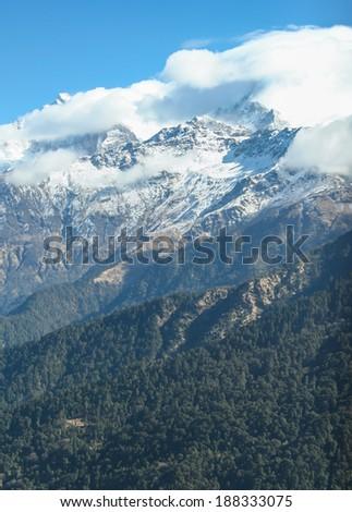 Himalaya range in Nepal - stock photo