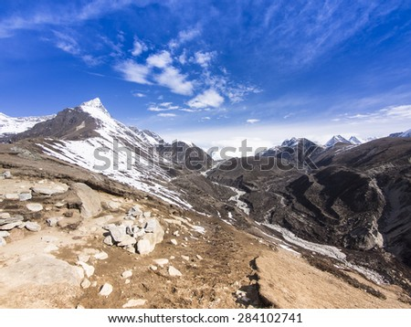 Himalaya range view from Machhermo-Gokyo path, Nepal - stock photo