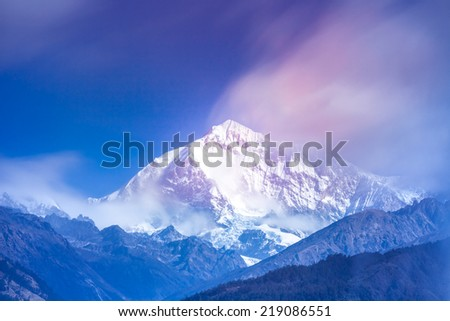 Himalaya scenic mountain landscape against the sunset sky - stock photo