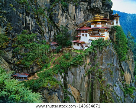 Himalaya, Tibet, Bhutan, Paro Taktsan, Taktsang Palphug Monastery (also known as The Tiger's Nest) - stock photo
