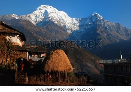 Himalaya village under annapurna - stock photo